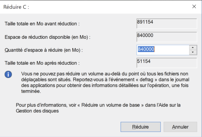 Changer taille partition C: